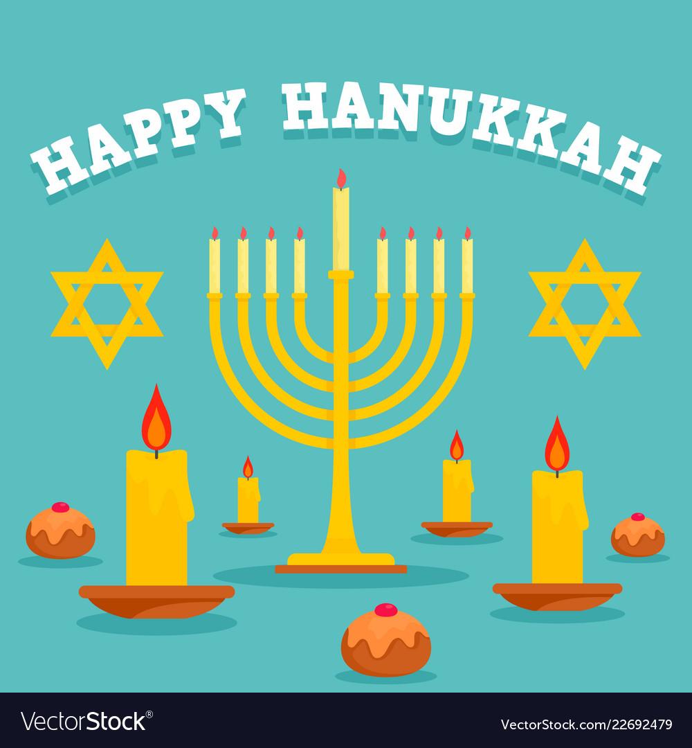 Happy hanukkah candles concept background flat