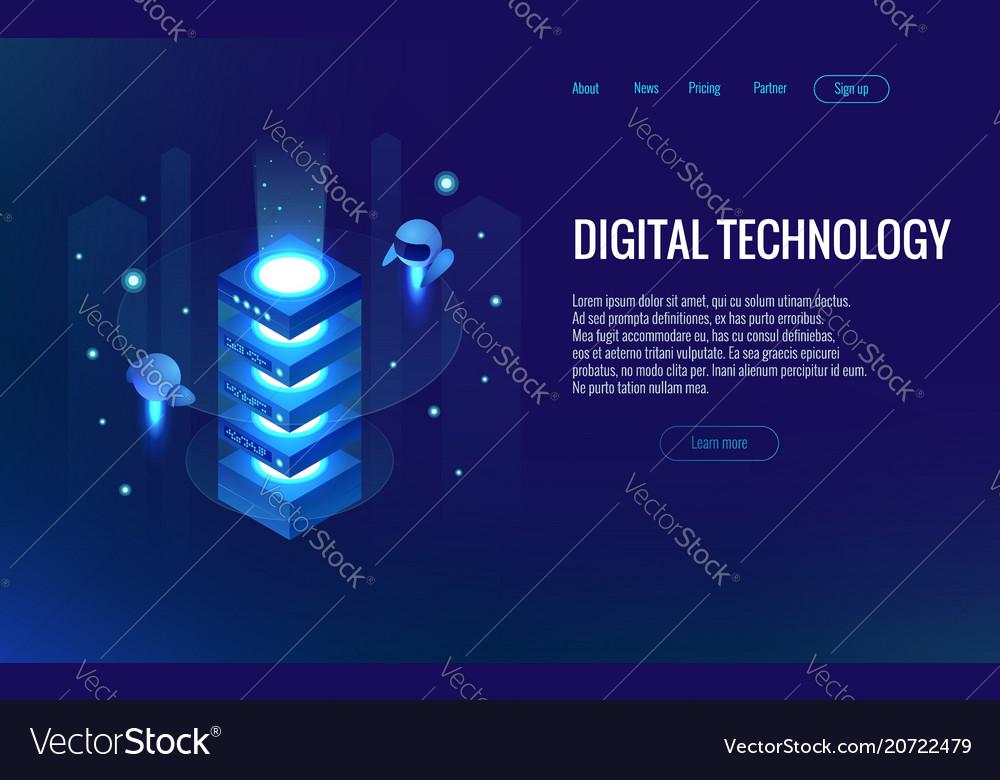Isometric digital technology web banner analysis