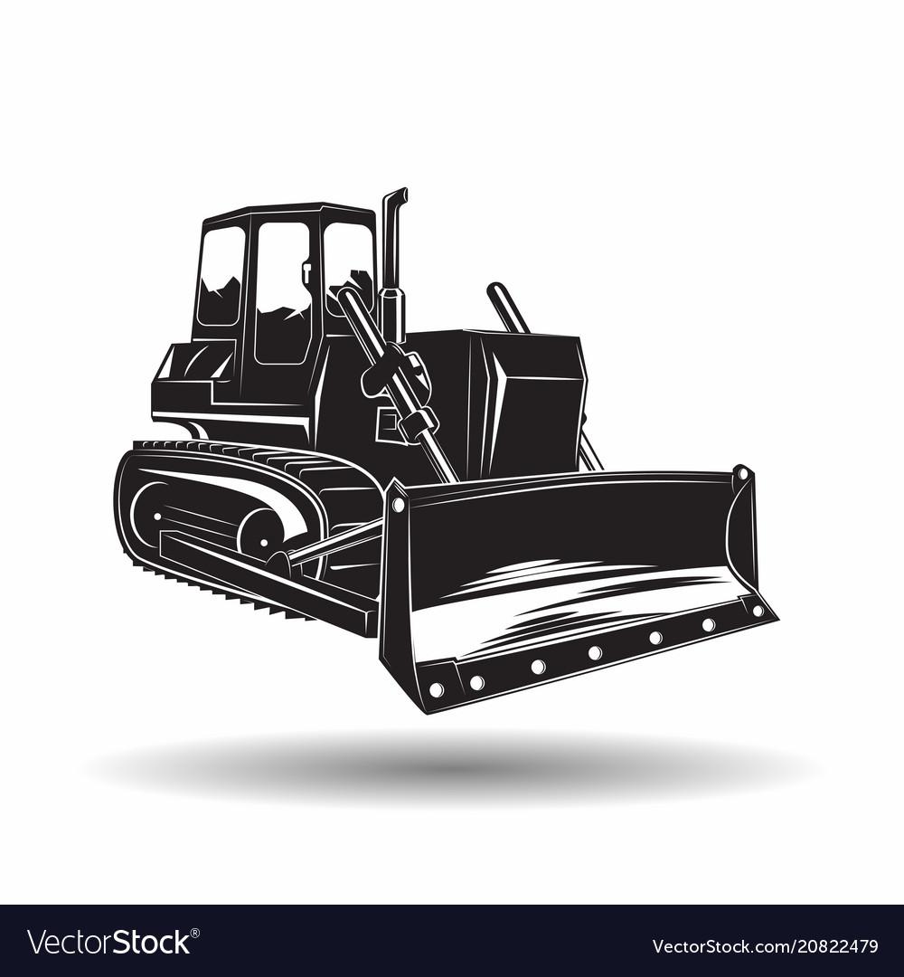 Monochrome bulldozer icon