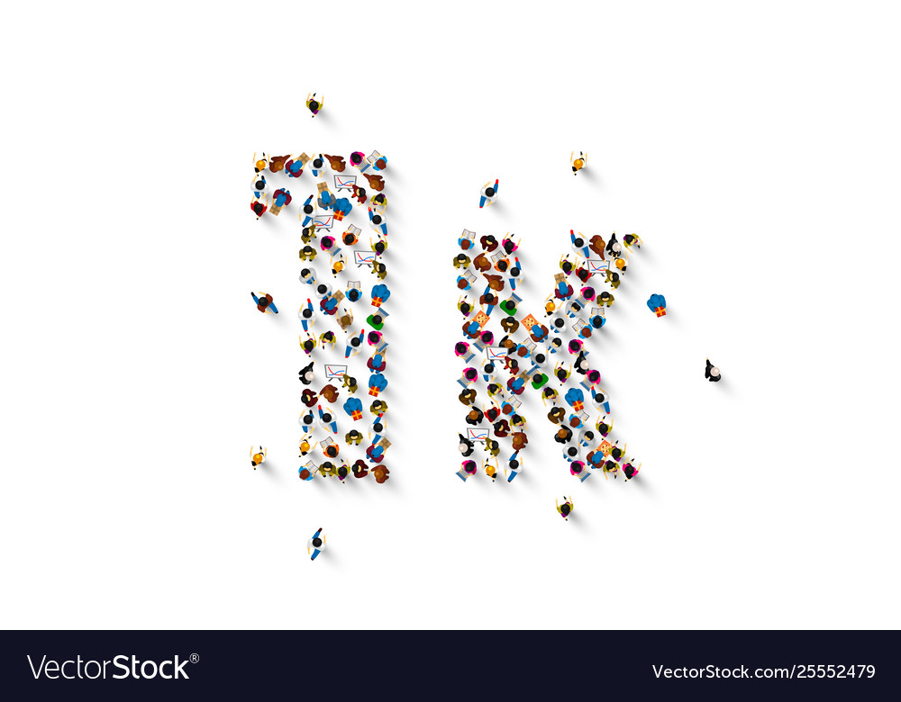 People letter 1k sign white background