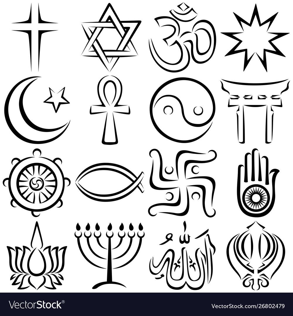Religious symbols line art