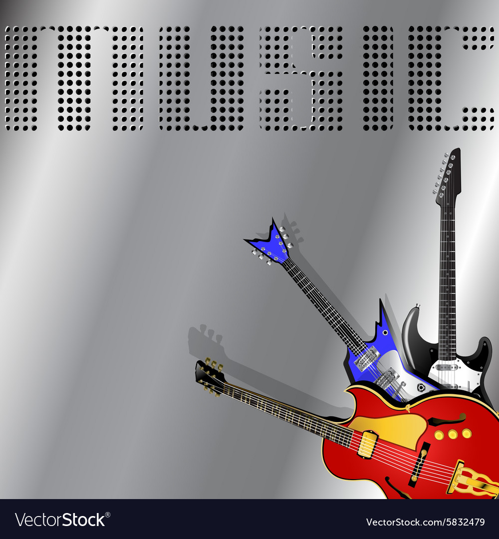 Rock musical background with guitar vector image