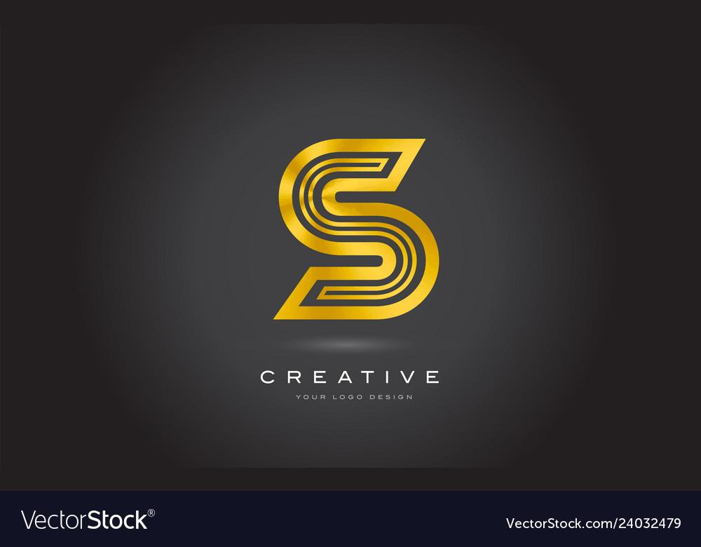 S gold letter monogram logo design modern s