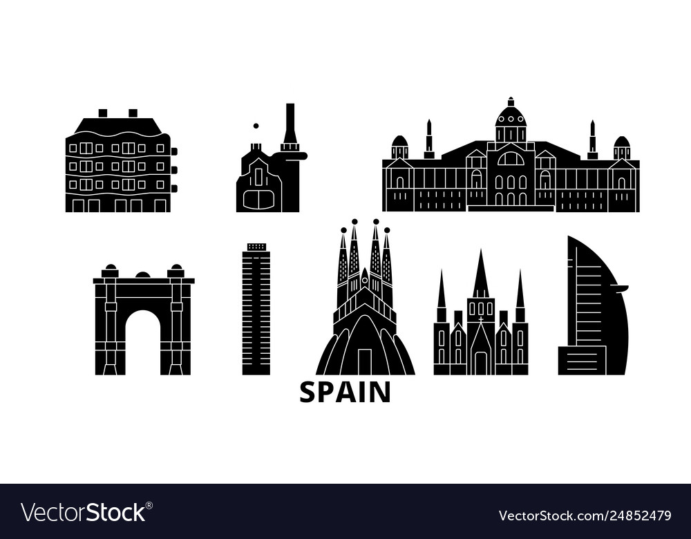 Spain barcelona flat travel skyline set spain
