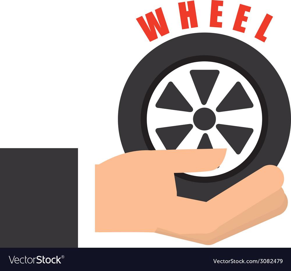 Wheel car design vector image