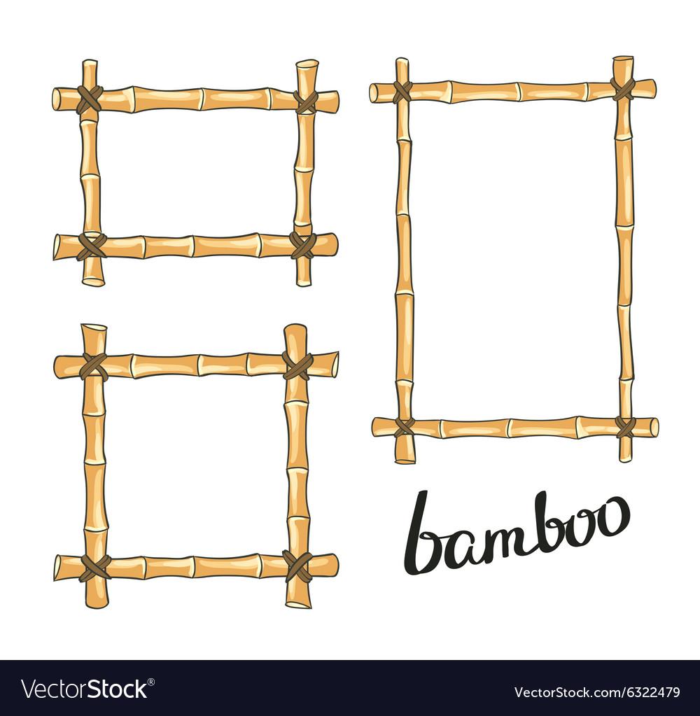 Yellow bamboo frames Royalty Free Vector Image