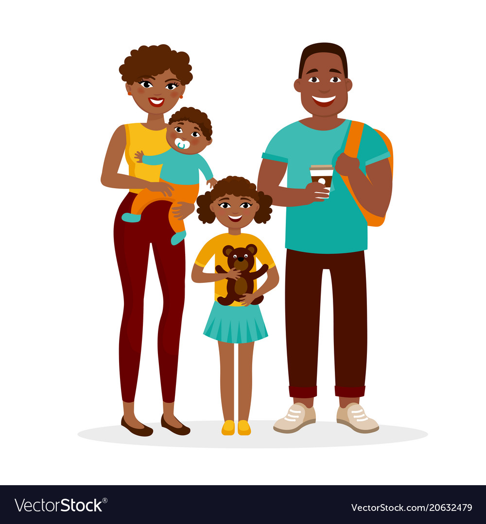 Young african american family standing together