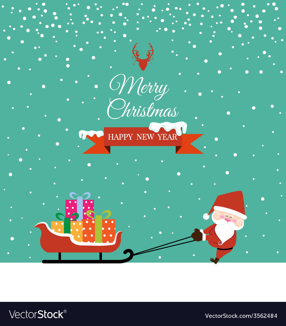 Abstract Christmas with Santa Claus and gift on
