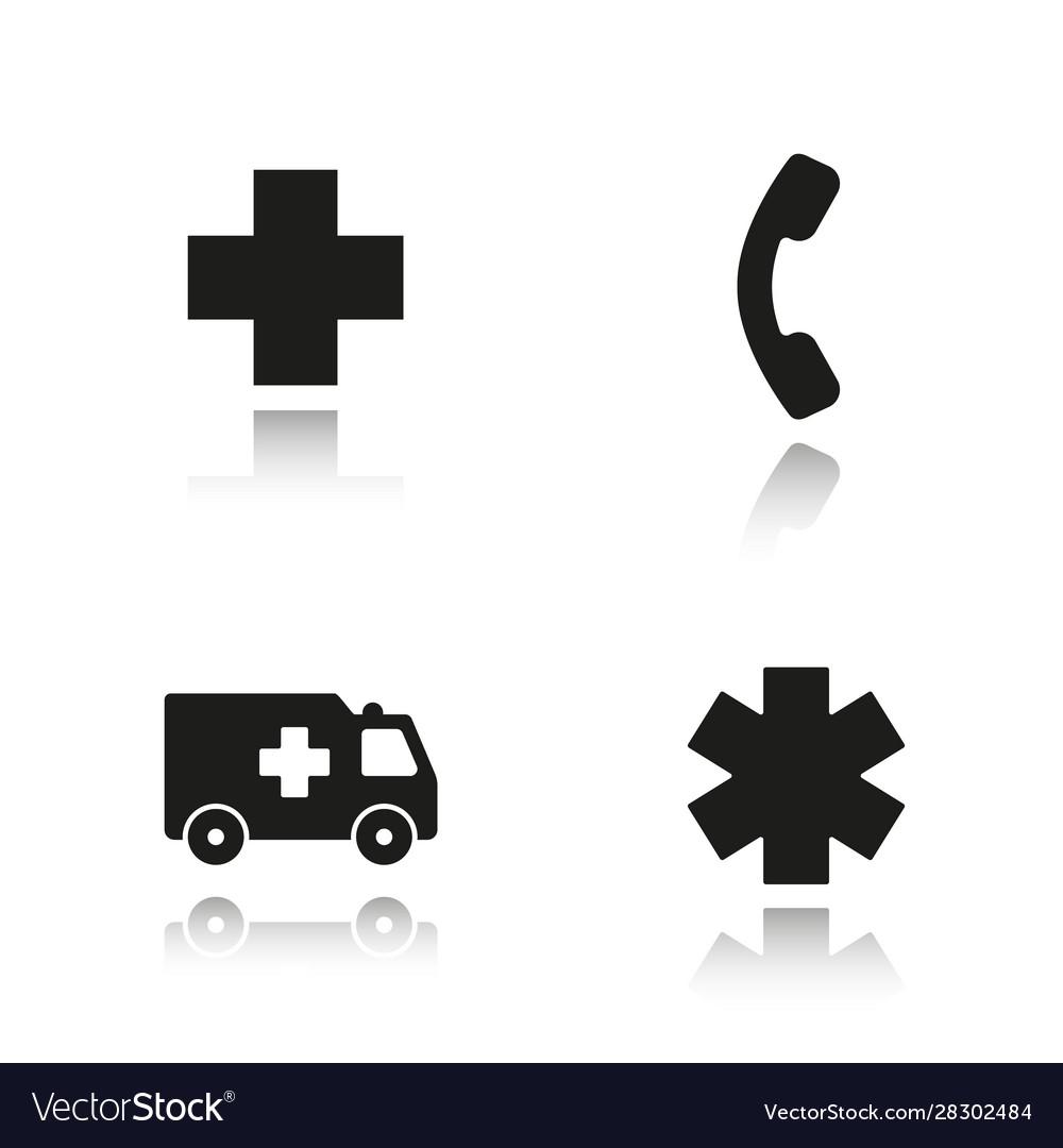 Ambulance drop shadow black icons set