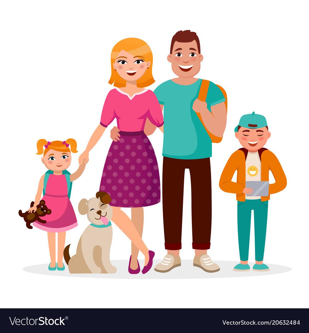 Caucasian family cartoon characters flat