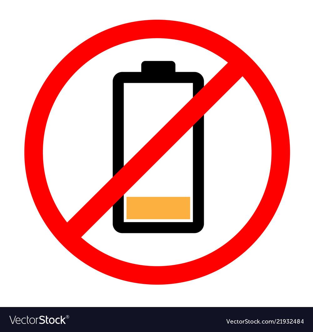 Empty battery icon symbol on white background