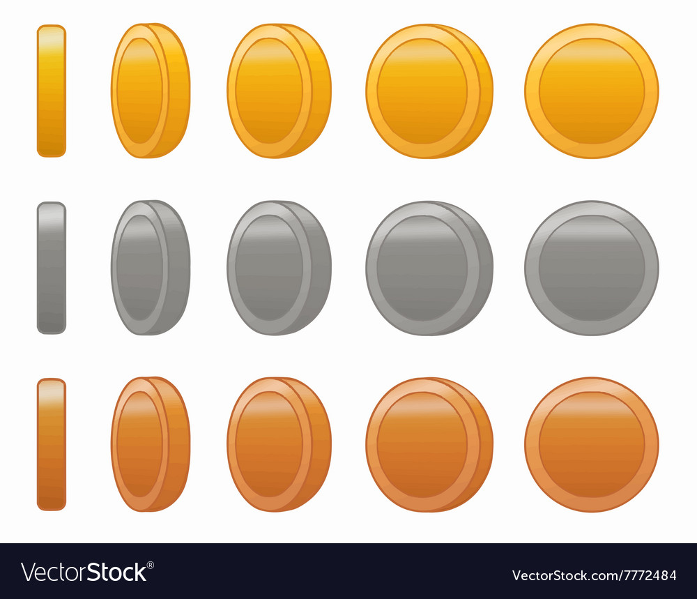 Game coin animation set vector image