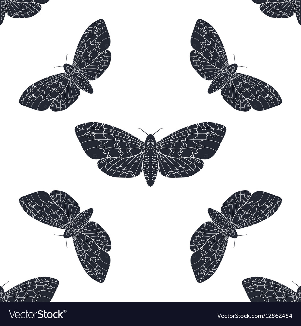 Hand drawn hawk moth seamless pattern
