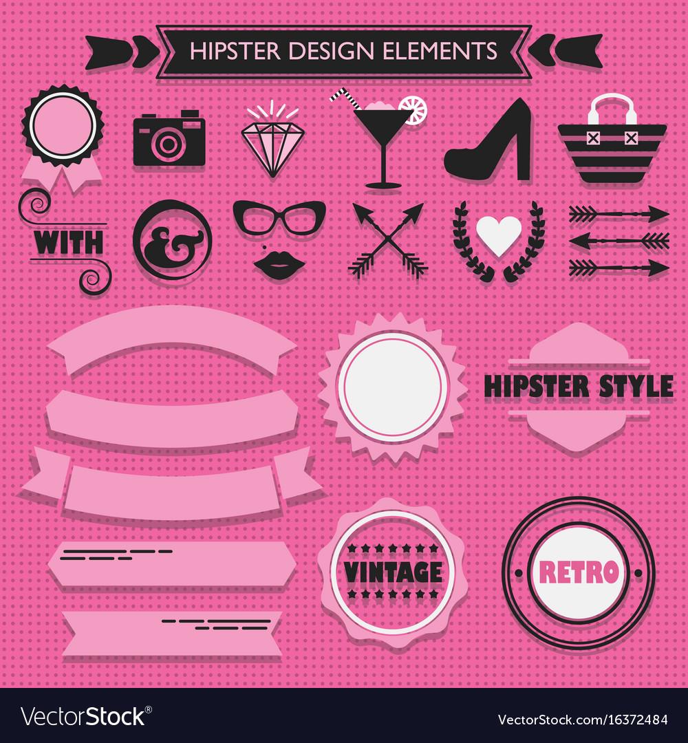 Hipster feminine design elements set on pink dots