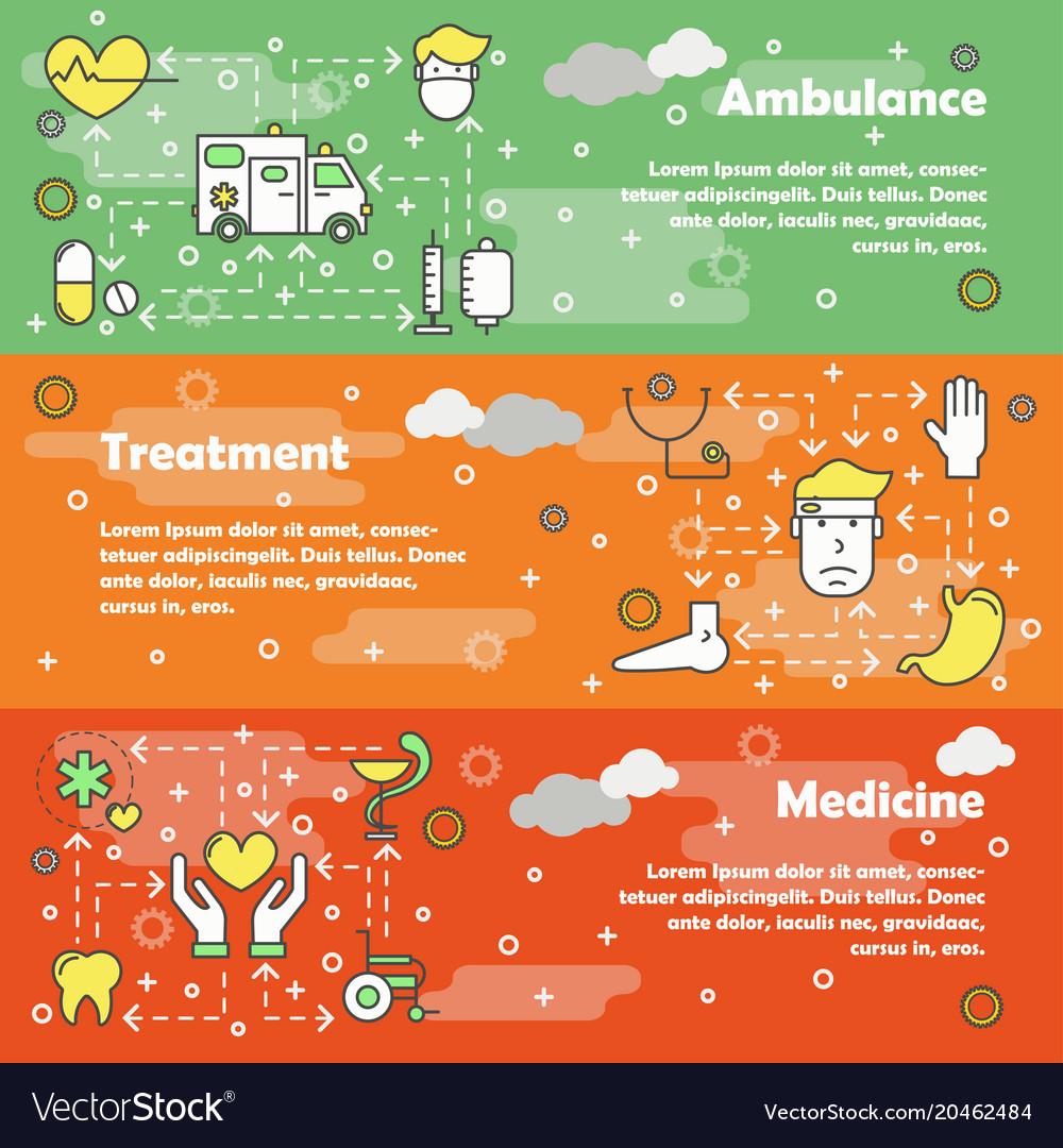 Medicine concept flat line art banner set