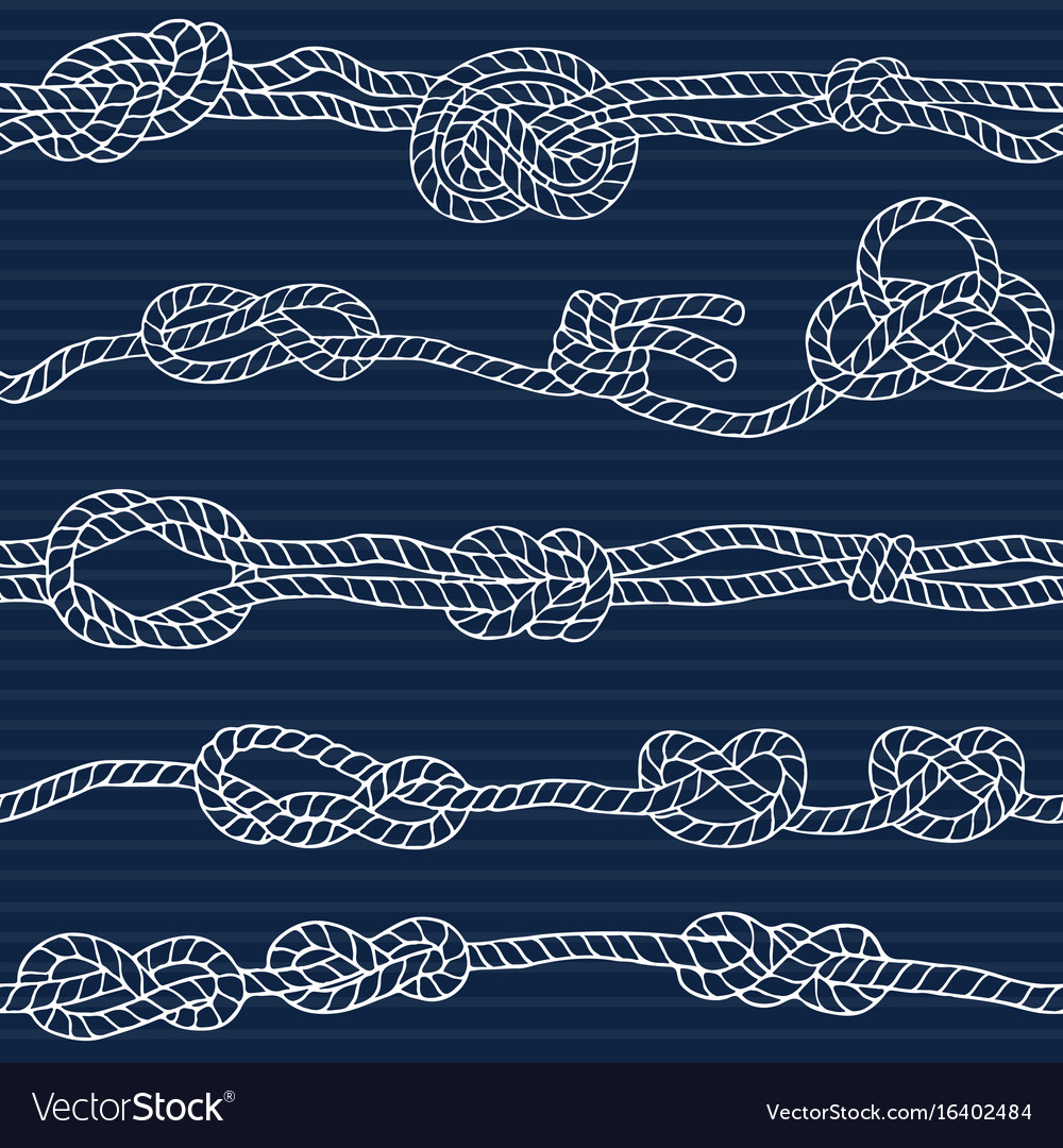 Nautical seamless pattern with marine knots and