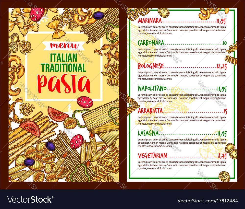 Pasta Italian Restaurant Menu Template