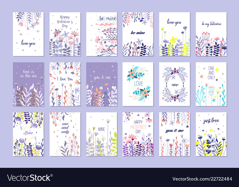 Romantic greeting cards set trendy cards for
