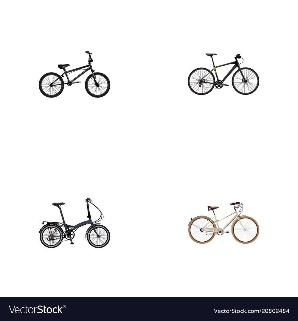 Set of bike realistic symbols with training