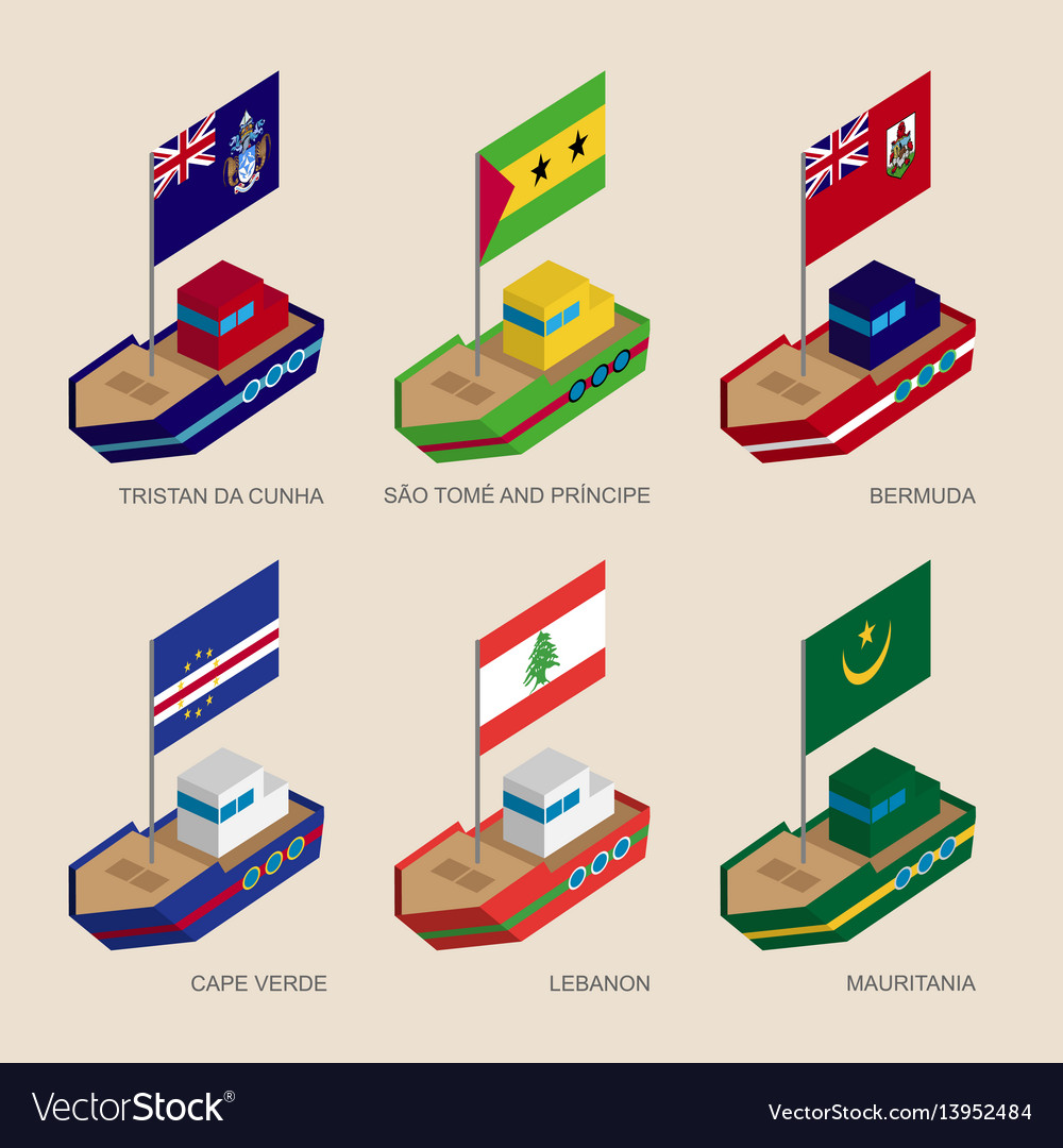 Set of isometric ships with flags of atlantic