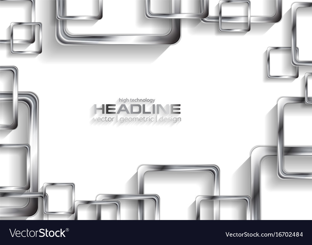 Silver metallic squares on white background vector image