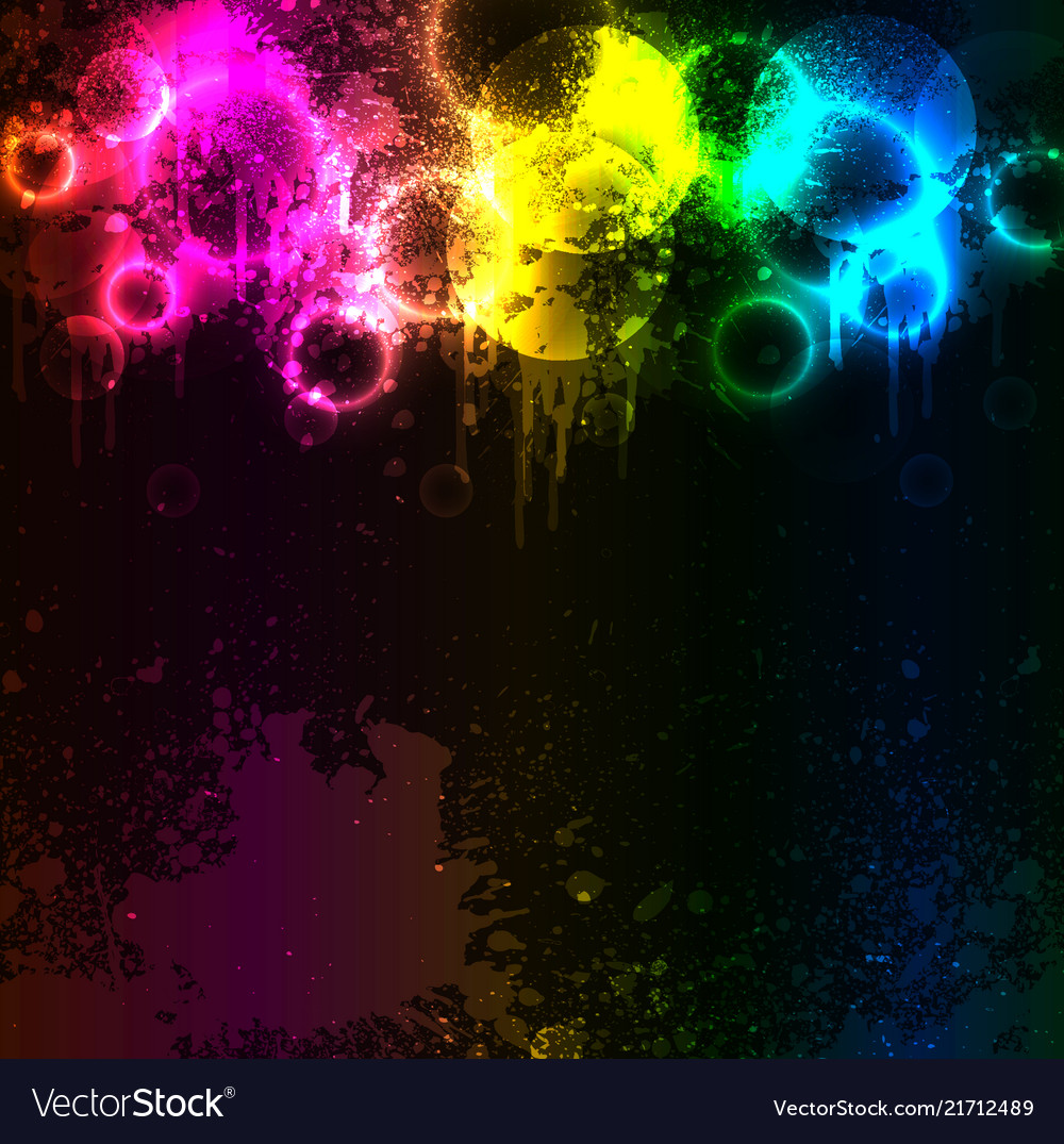 Abstract grunge rainbow fog with colored blots