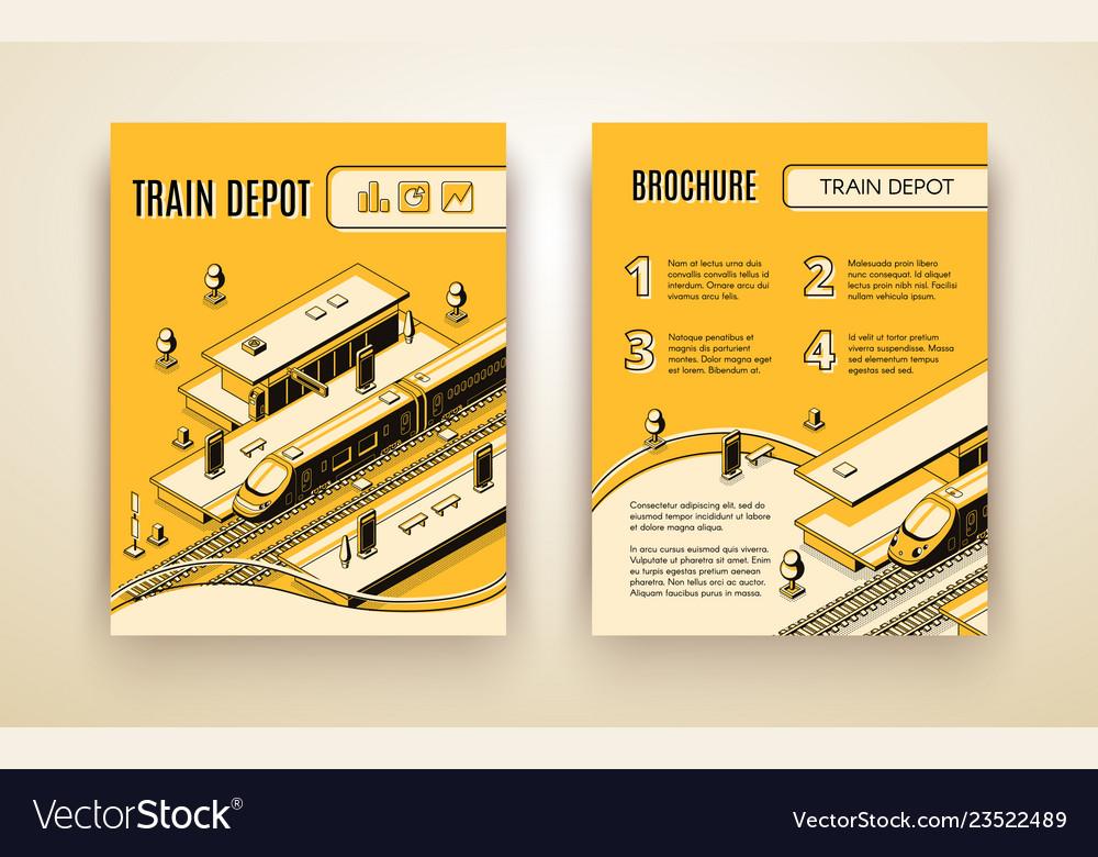 Brochure template for train depot railroad
