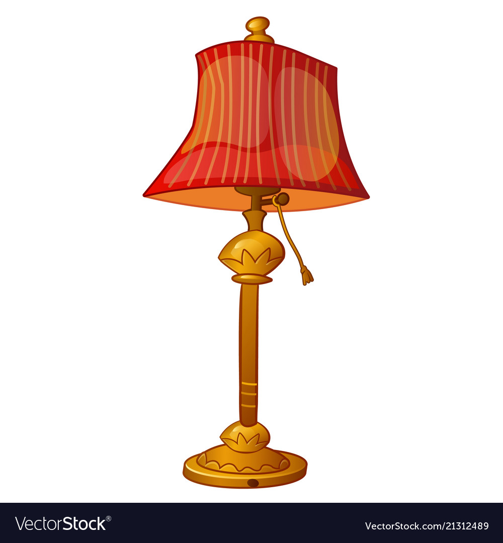 Floor Lamp With Red Shade In Vintage Style