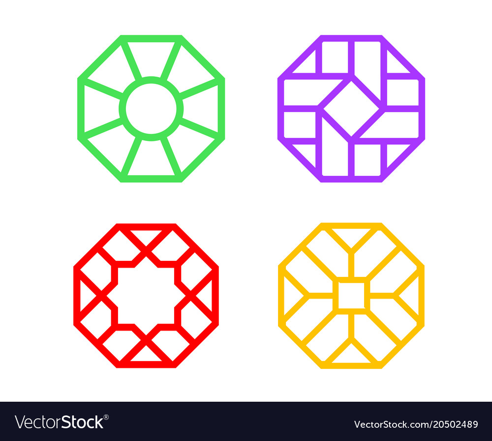 Chinese octagon window frame with islamic pattern Vector Image
