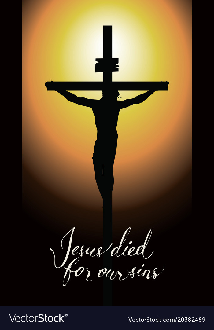 cross with crucified jesus christ in the sunset vector image