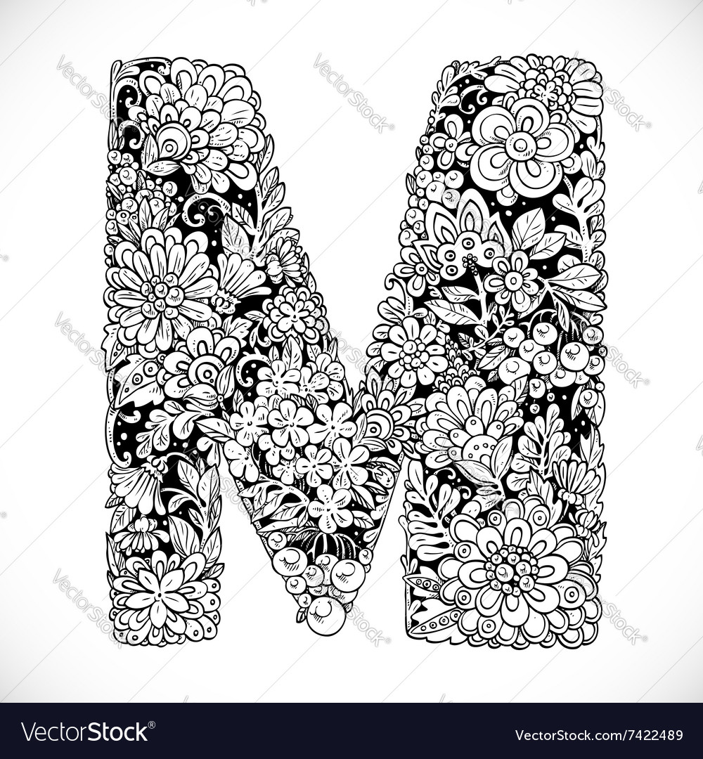 Doodles Font From Ornamental Flowers Letter M Vector Image