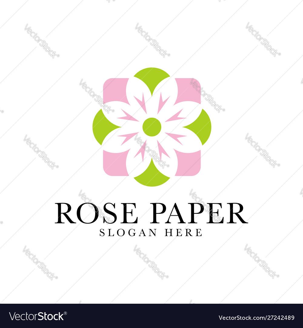 Floral Rose Paper Leaf Beauty Logo Design