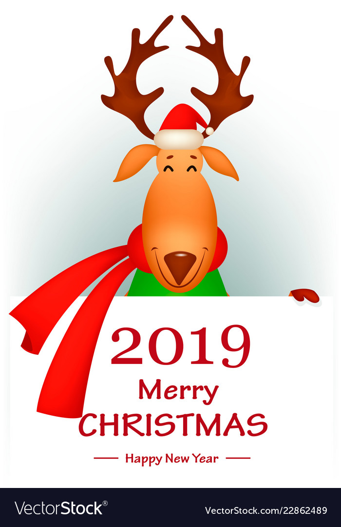 0b6ea47d882aa Funny deer wearing santa claus hat and red scarf Vector Image