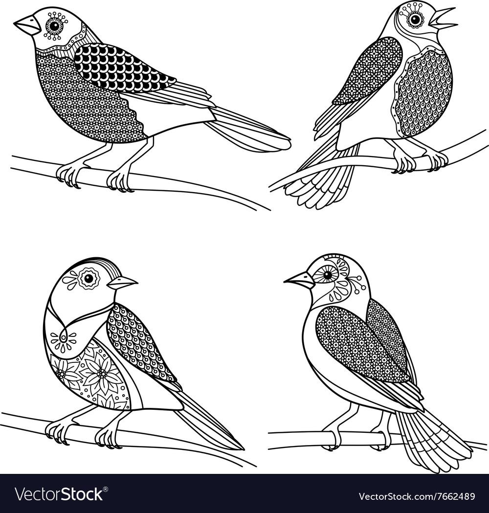 Hand drawn zentangle birds