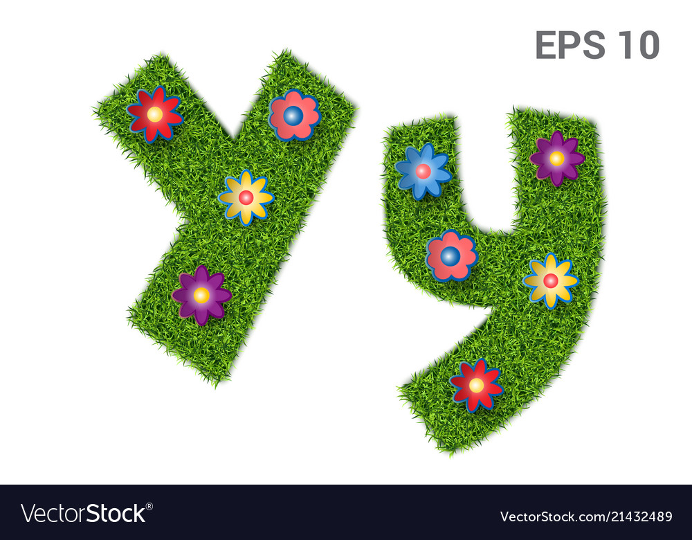 Letter yy with a texture of grass and flowers
