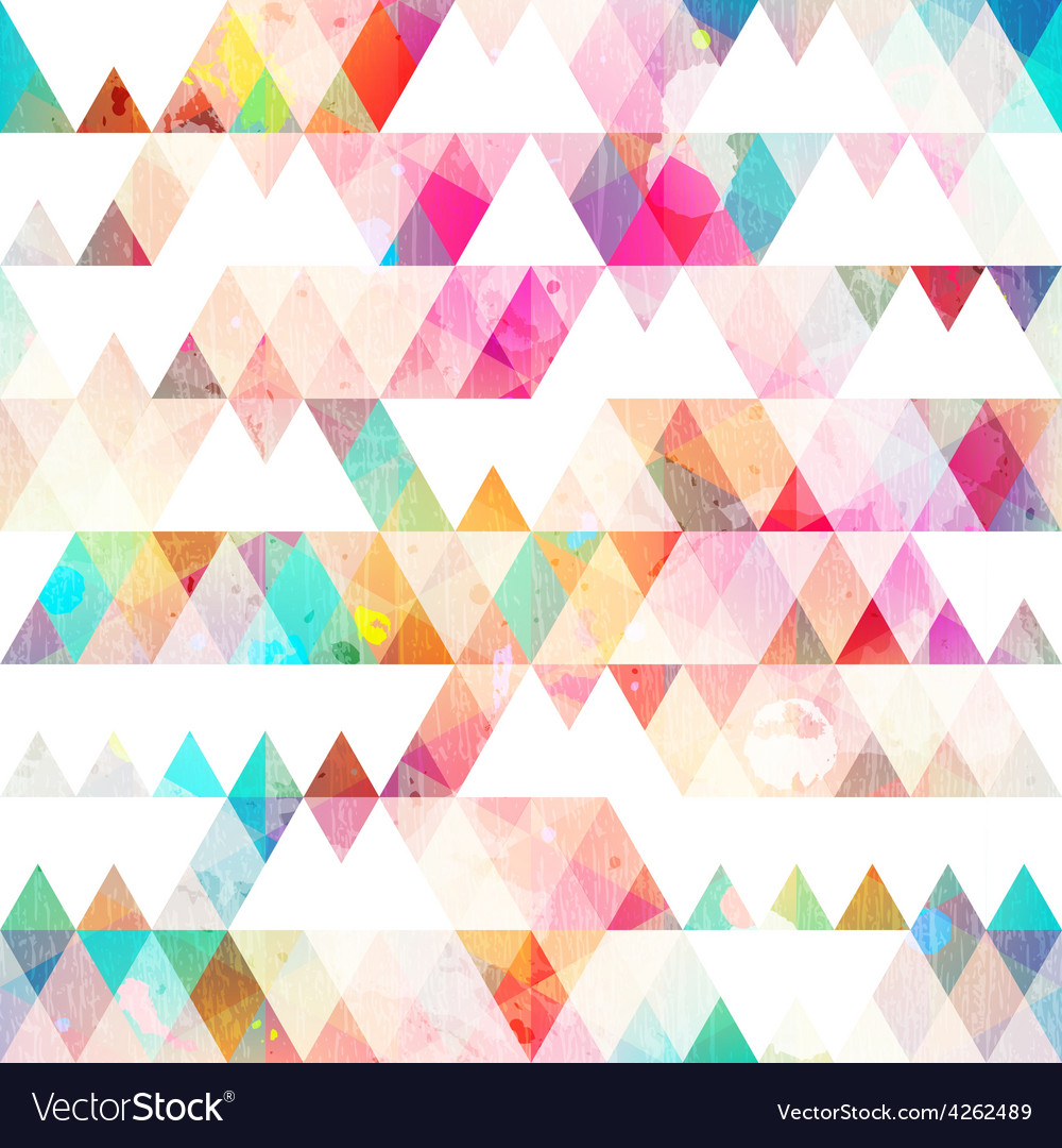 Rainbow triangle seamless pattern with grunge