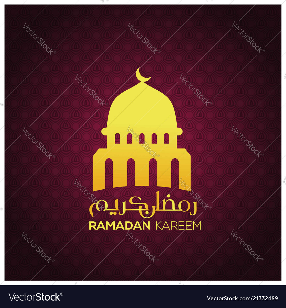 Ramadan kareem orange mosque on pattern background