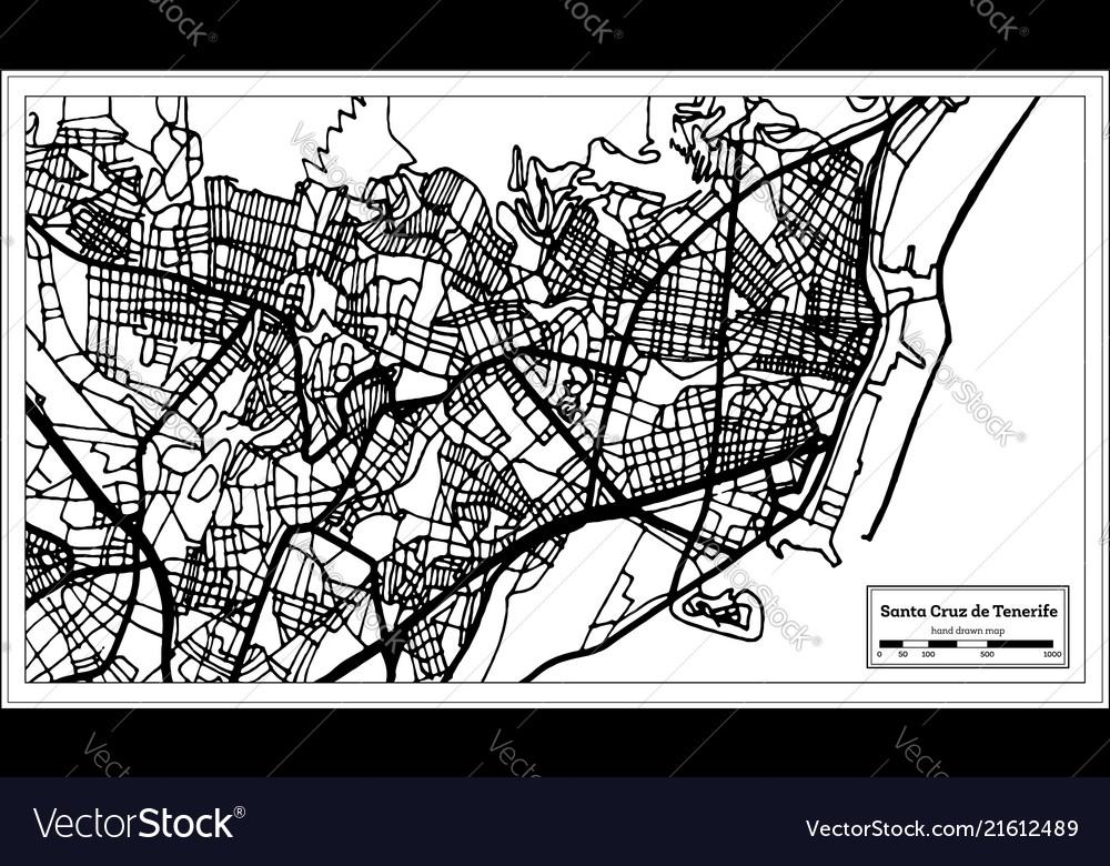 Map Of Spain Tenerife.Santa Cruz De Tenerife Spain City Map In Retro Vector Image