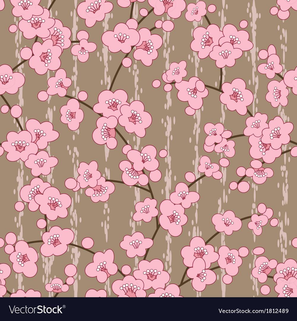 Seamless cherry sakura blossom flowers pattern