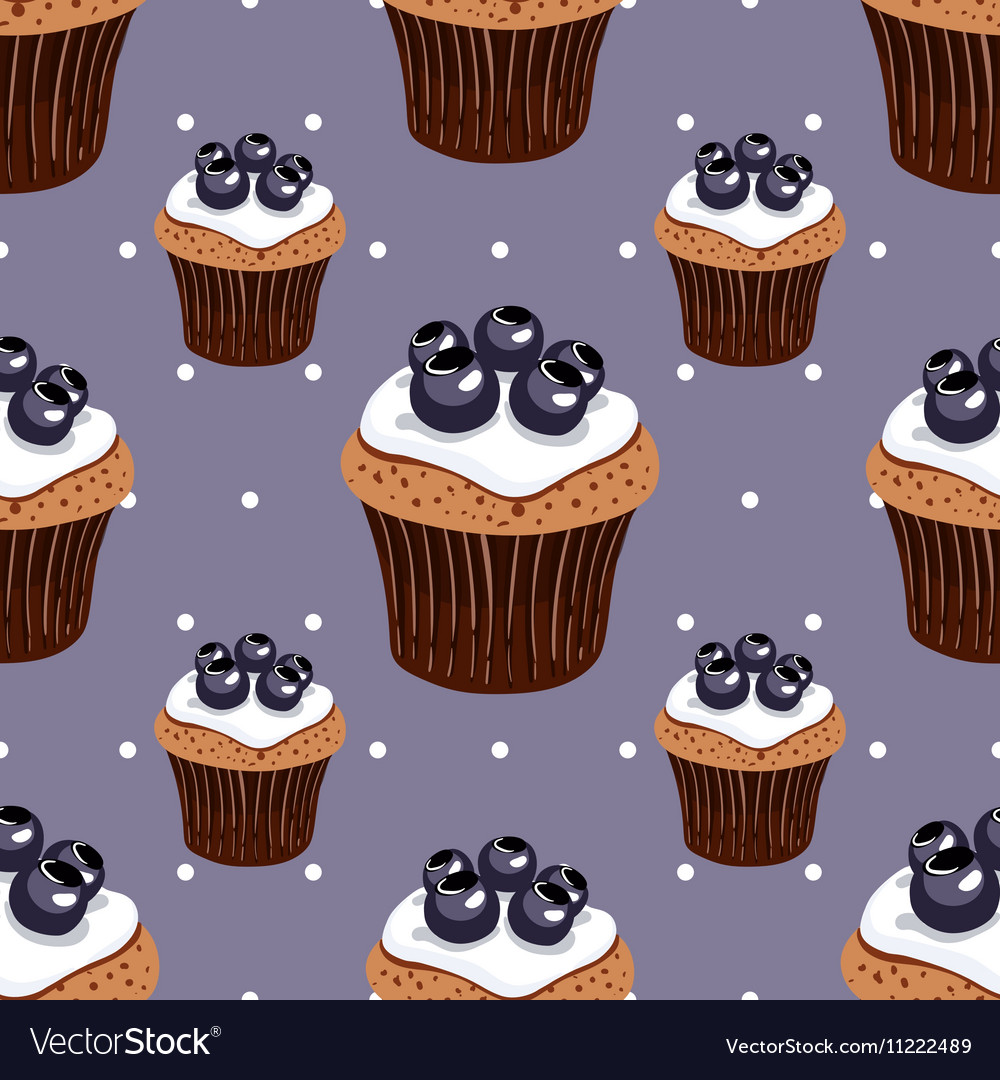 Seamless Pattern Blueberry Cupcakes vector image