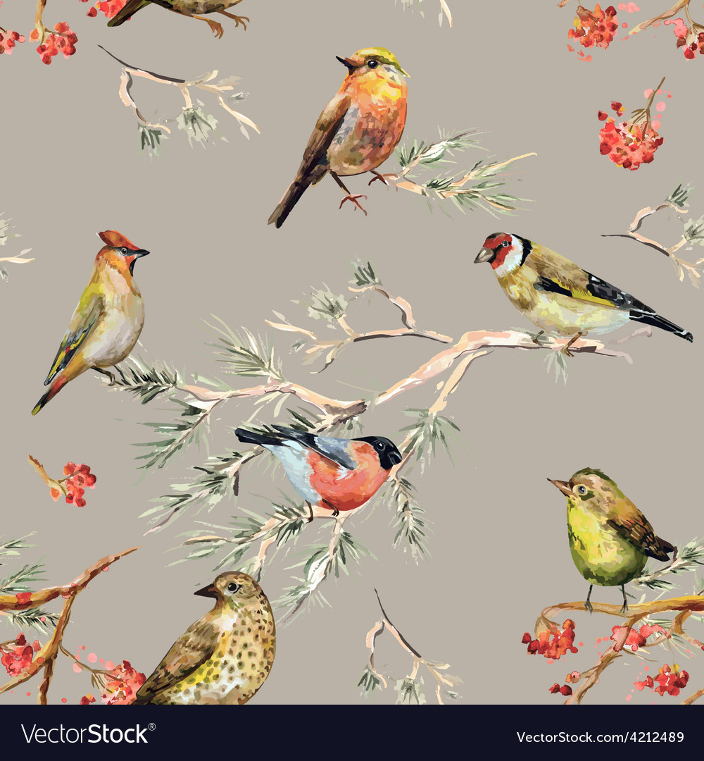 Seamless texture cute birds watercolor painting