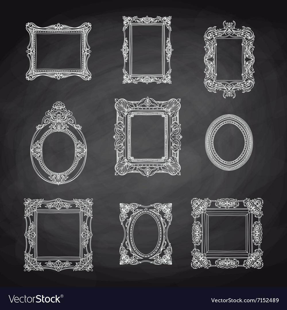 Vintage hand drawn set with picture frames vector image