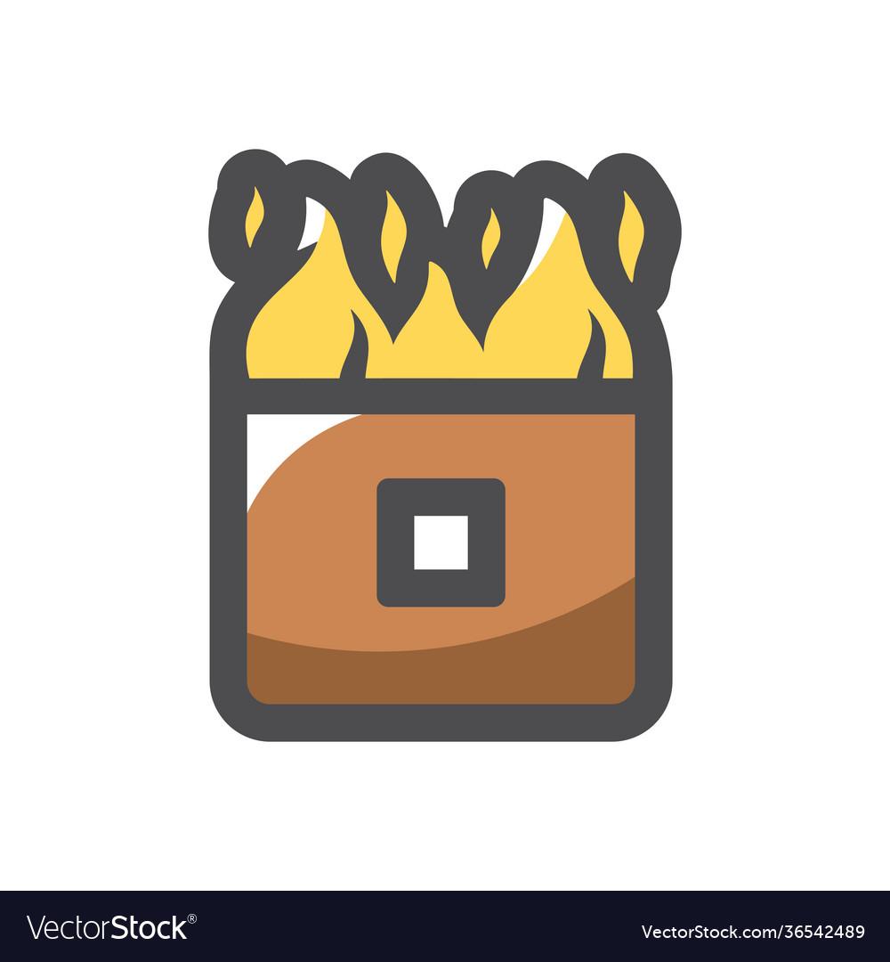 Wall on fire burning house icon cartoon