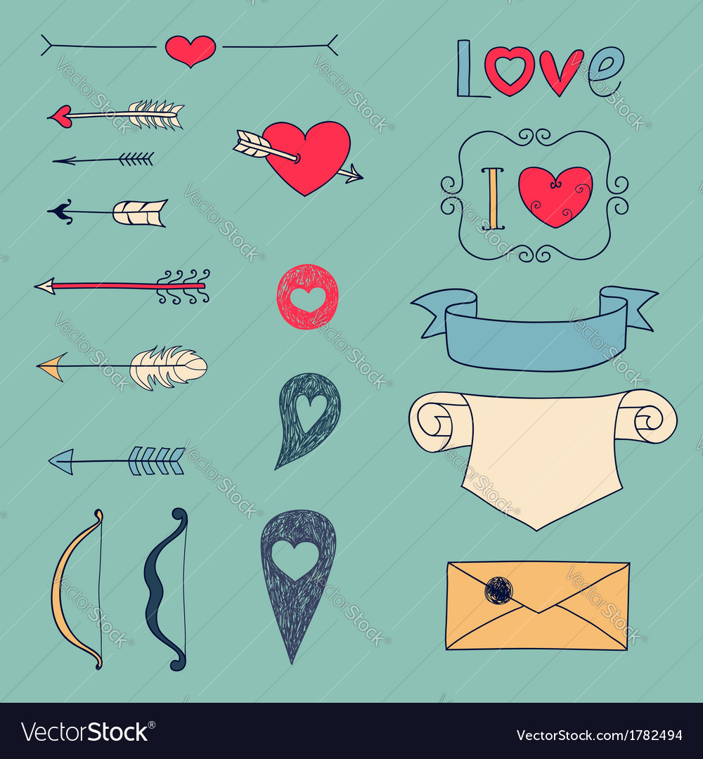 Arrows hearts and other design elements vector image