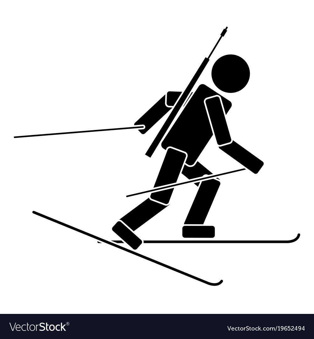 Biathlon flat icon vector image