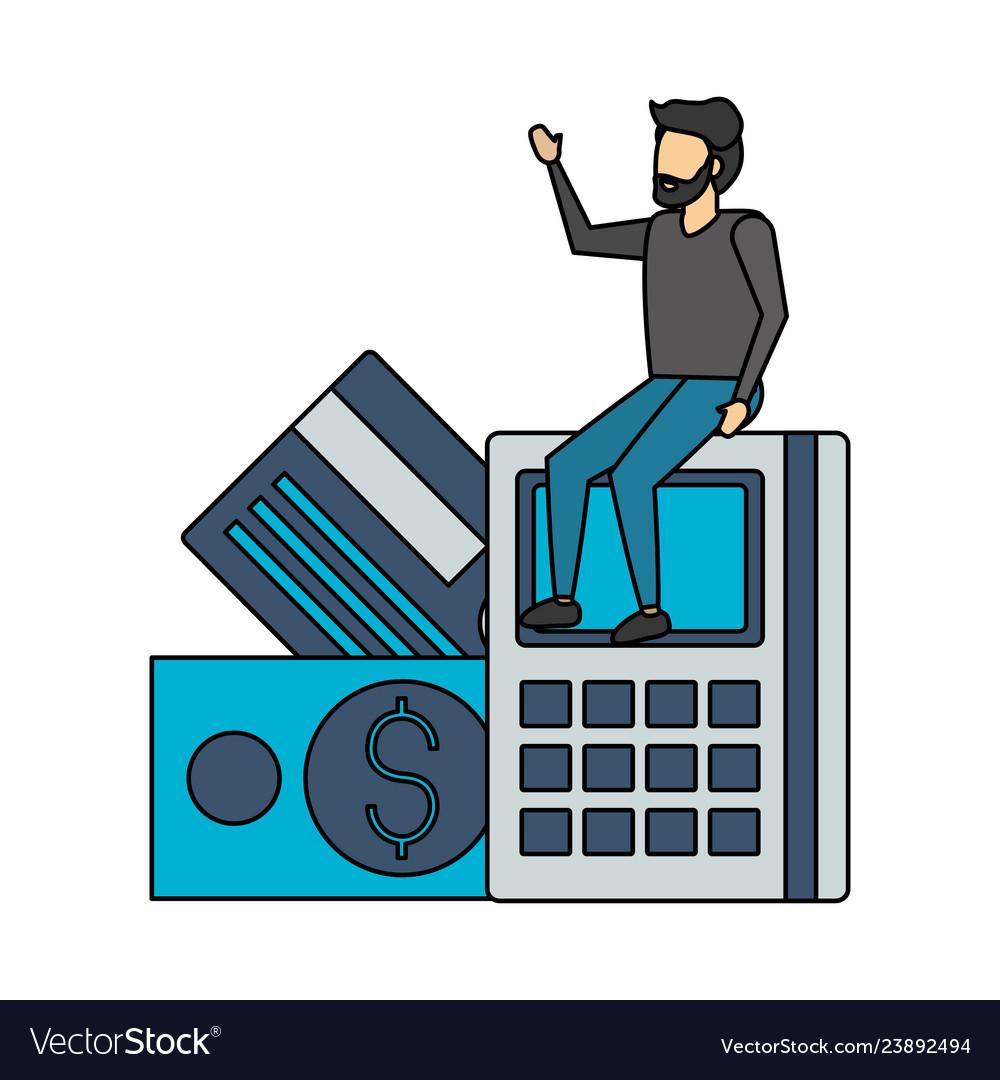 Businessman sitting on calculator
