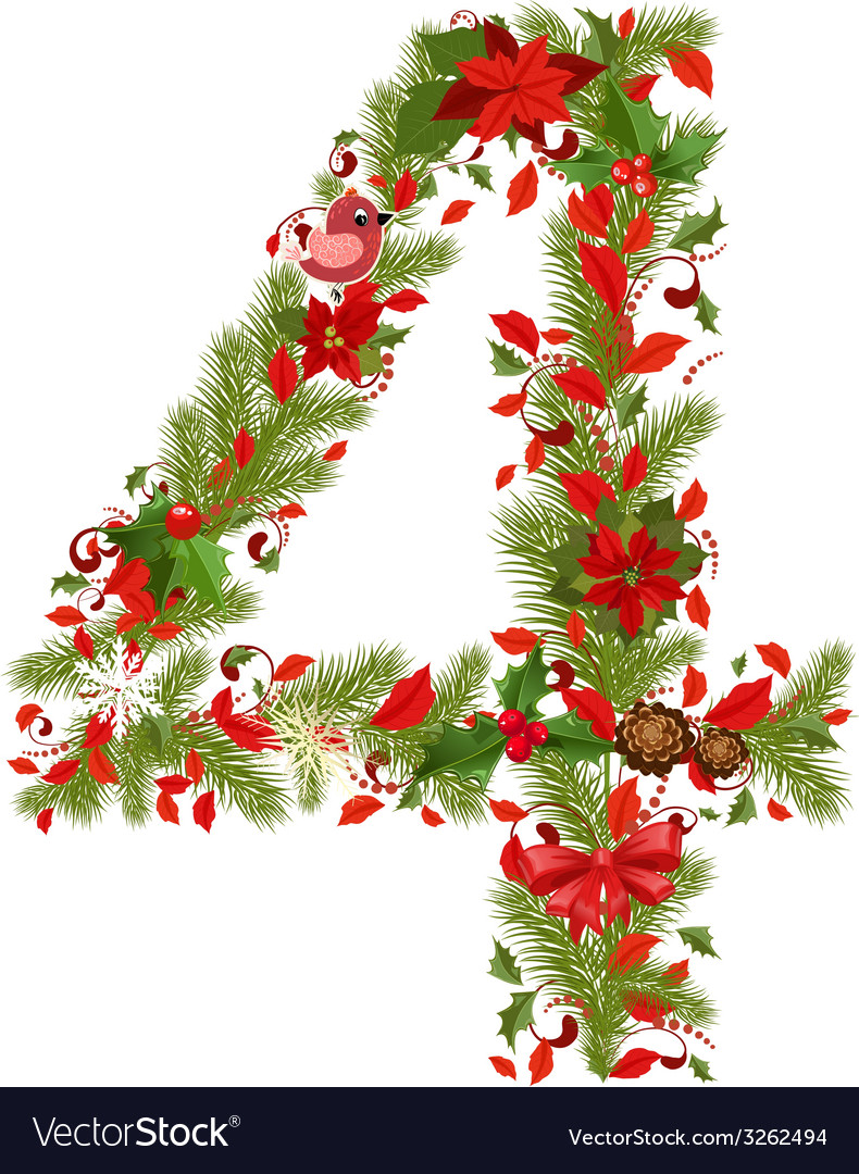 Christmas floral tree number 4 Royalty Free Vector Image