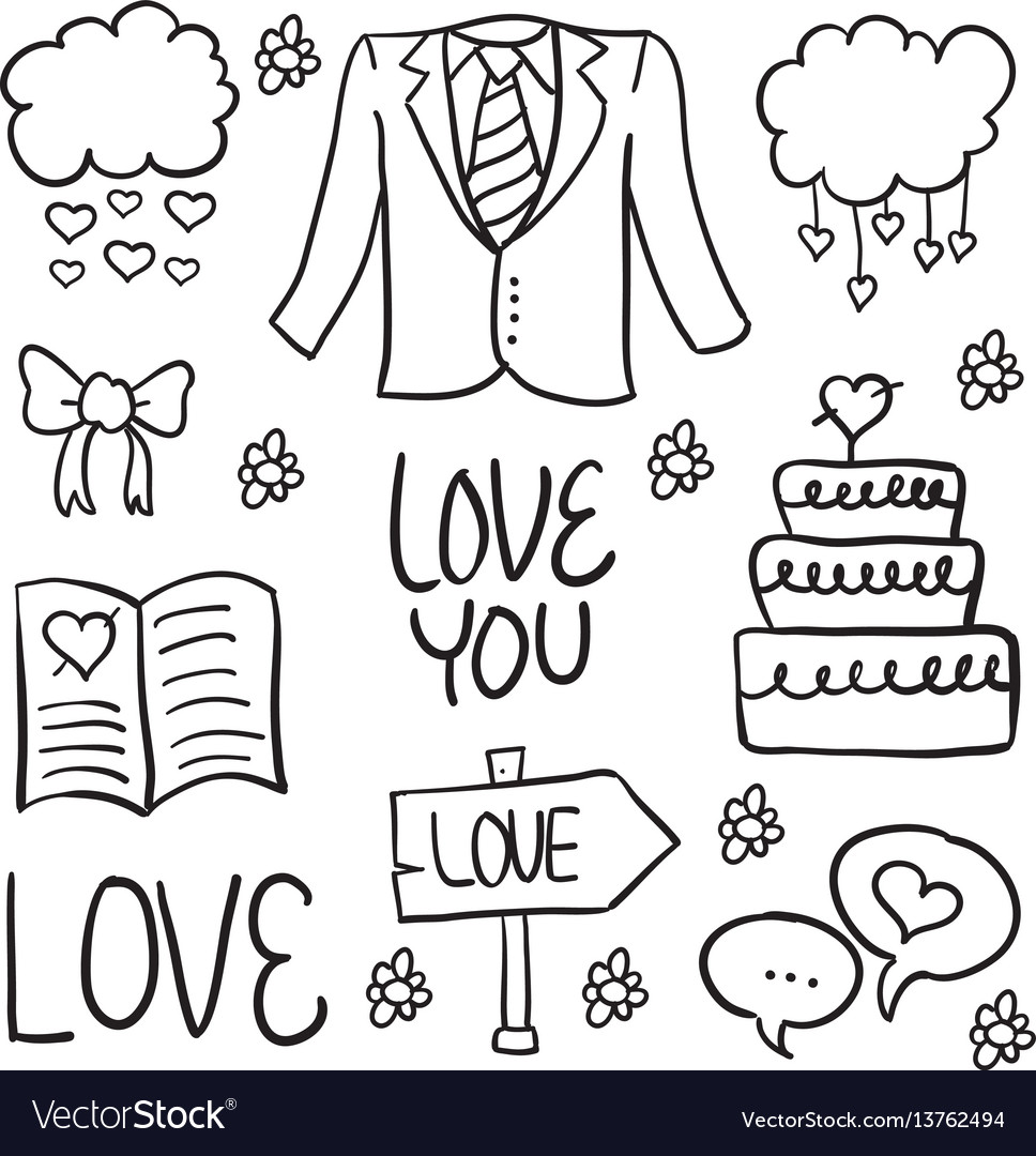 Doodle of wedding element vector image