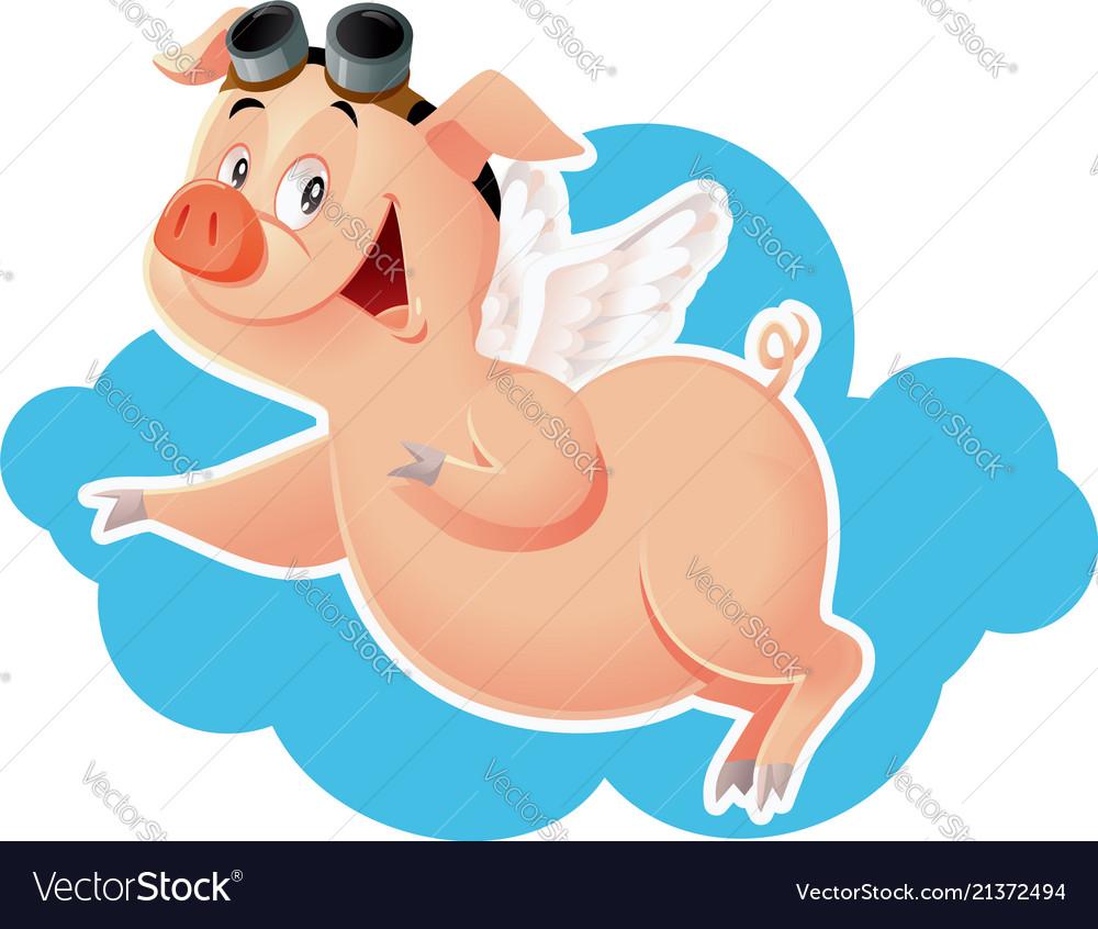 Funny flying pig cartoon