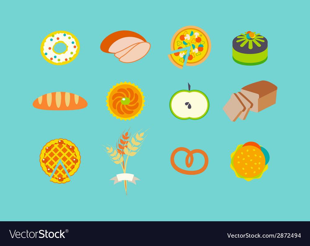 Icon set with pastries